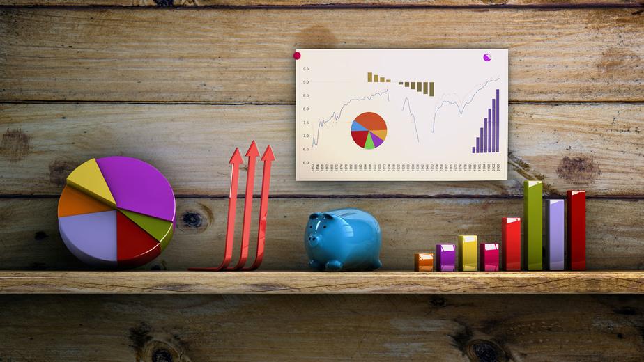 Gráficos de análisis financiero en 3d